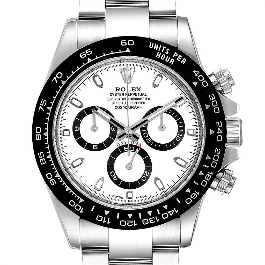 Rolex Daytona Ceramic Bezel White Dial Chronograph Mens Watch 116500 SwissWatchExpo