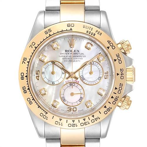 Photo of Rolex Daytona Yellow Gold Steel MOP Diamond Watch 116523 Box Papers