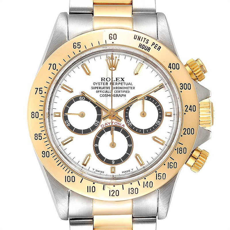 Rolex Daytona Steel Yellow Gold Inverted 6 White Dial Mens Watch 16523 SwissWatchExpo