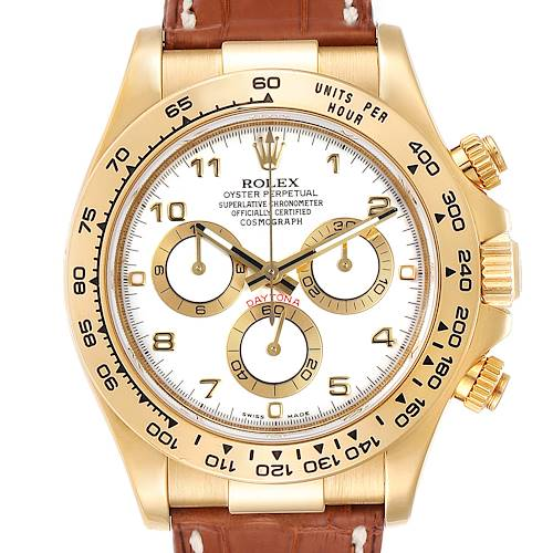 Photo of Rolex Daytona Yellow Gold White Dial Brown Strap Mens Watch 116518