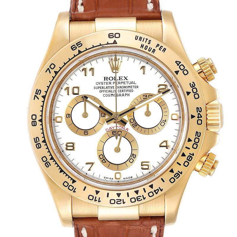 Rolex Daytona Yellow Gold White Dial Brown Strap Mens Watch 116518 SwissWatchExpo