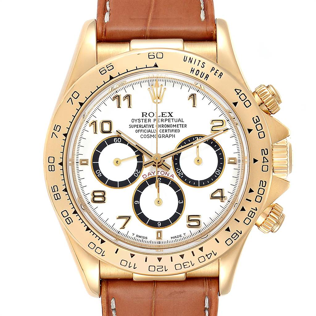 Rolex Daytona Yellow Gold White Dial Brown Strap Mens Watch 16518