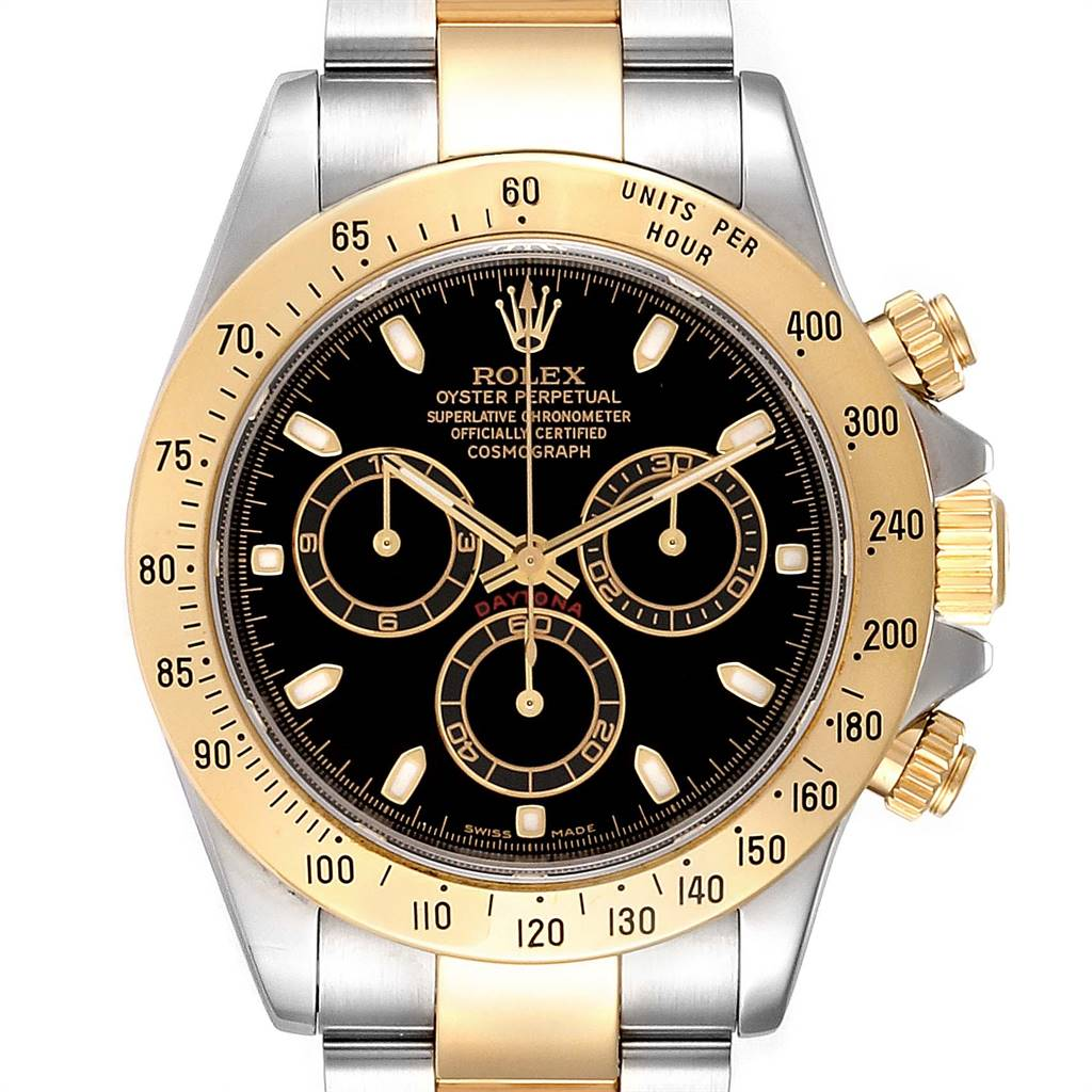 Rolex Daytona Steel Yellow Gold Black Dial Chronograph Mens Watch 116523 SwissWatchExpo