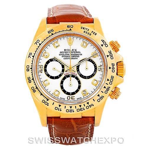7017p Rolex Cosmograph Daytona 18K Yellow Gold Diamond Watch 16518 SwissWatchExpo