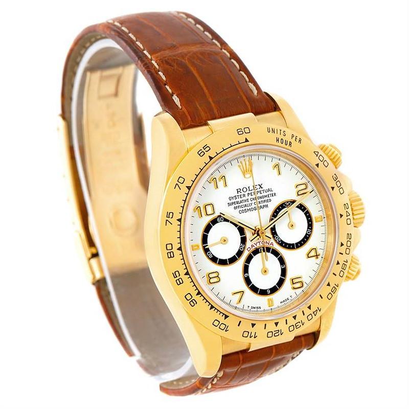 Rolex Cosmograph Daytona 18K Yellow Gold White Dial Watch 16518 SwissWatchExpo