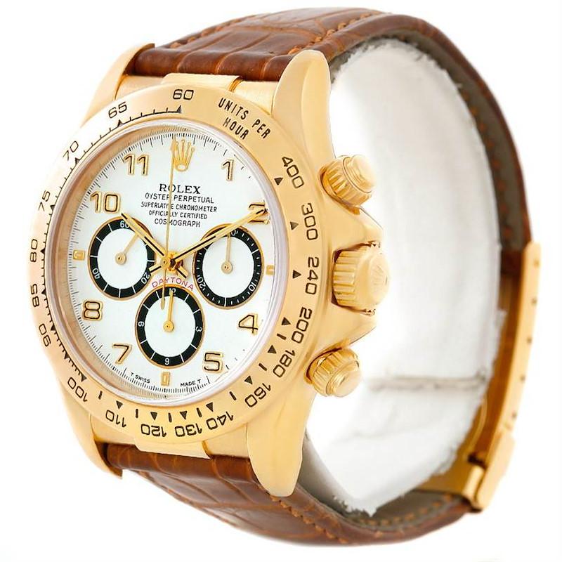 Rolex Cosmograph Daytona 18K Yellow Gold Brown Strap Watch 16518 SwissWatchExpo