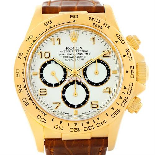 Photo of Rolex Cosmograph Daytona 18K Yellow Gold Brown Strap Watch 16518