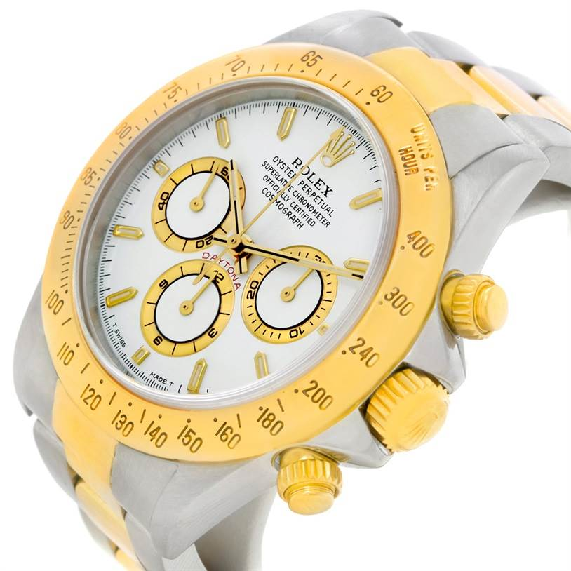 Rolex Cosmograph Daytona Steel 18K Yellow Gold White Dial Watch 16523 SwissWatchExpo
