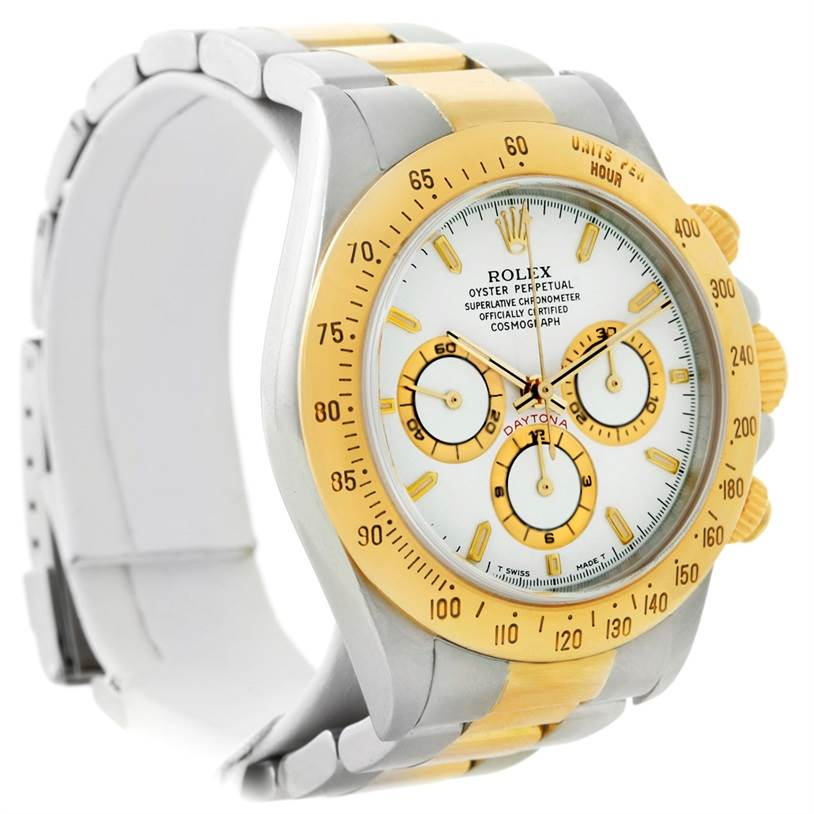 8634 Rolex Cosmograph Daytona Steel 18K Yellow Gold White Dial Watch 16523 SwissWatchExpo