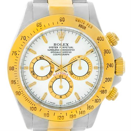 Photo of Rolex Cosmograph Daytona Steel 18K Yellow Gold White Dial Watch 16523