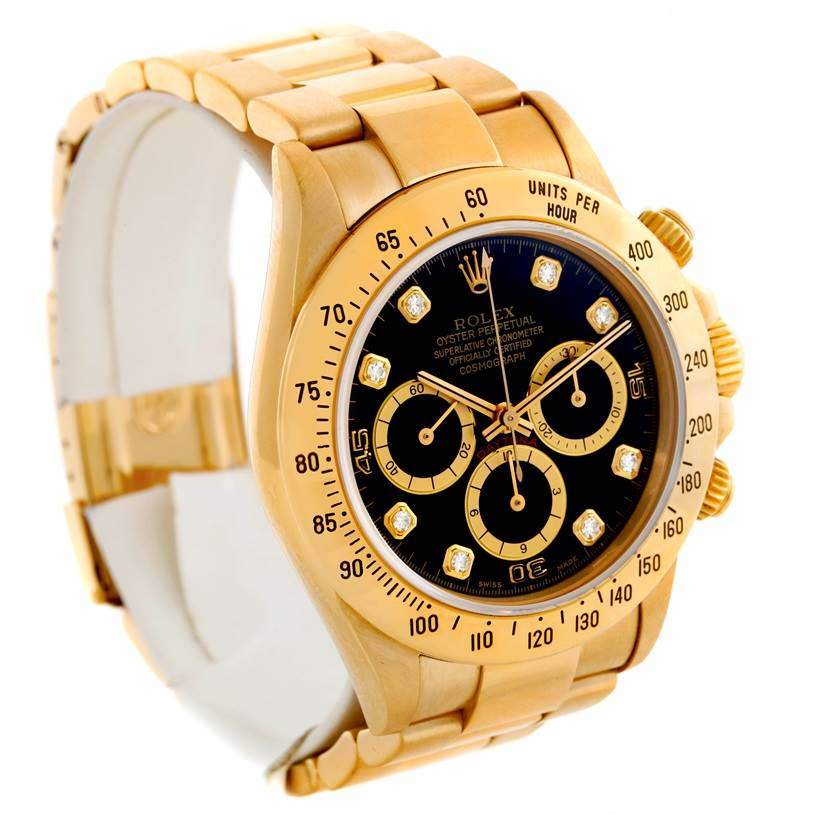 9026 Rolex Cosmograph Daytona 18K Yellow Gold Diamond Watch 16528 SwissWatchExpo