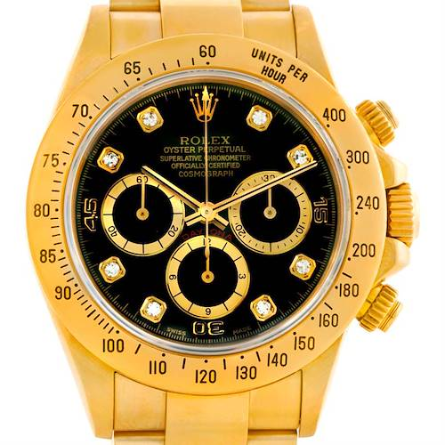 Photo of Rolex Cosmograph Daytona 18K Yellow Gold Diamond Watch 16528