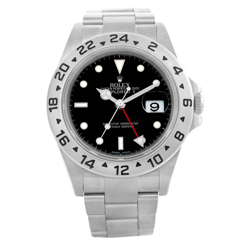 Rolex Explorer II Parachrom Hairspring Steel Black Dial Watch 16570 SwissWatchExpo