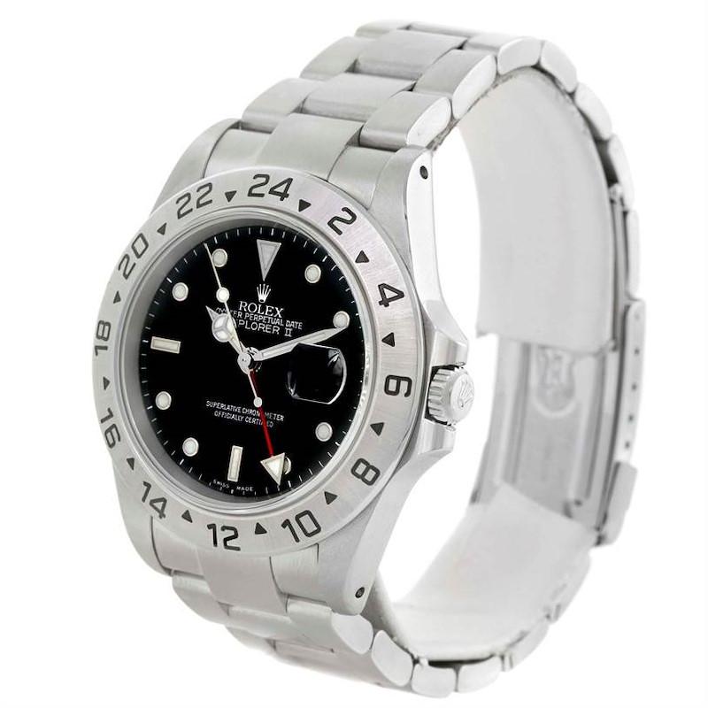 Rolex Explorer II Mens Oyster Bracelet Black Dial Watch 16570 SwissWatchExpo