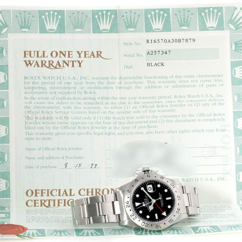 Rolex Explorer II Black Dial Steel Mens Watch 16570 Box Papers SwissWatchExpo
