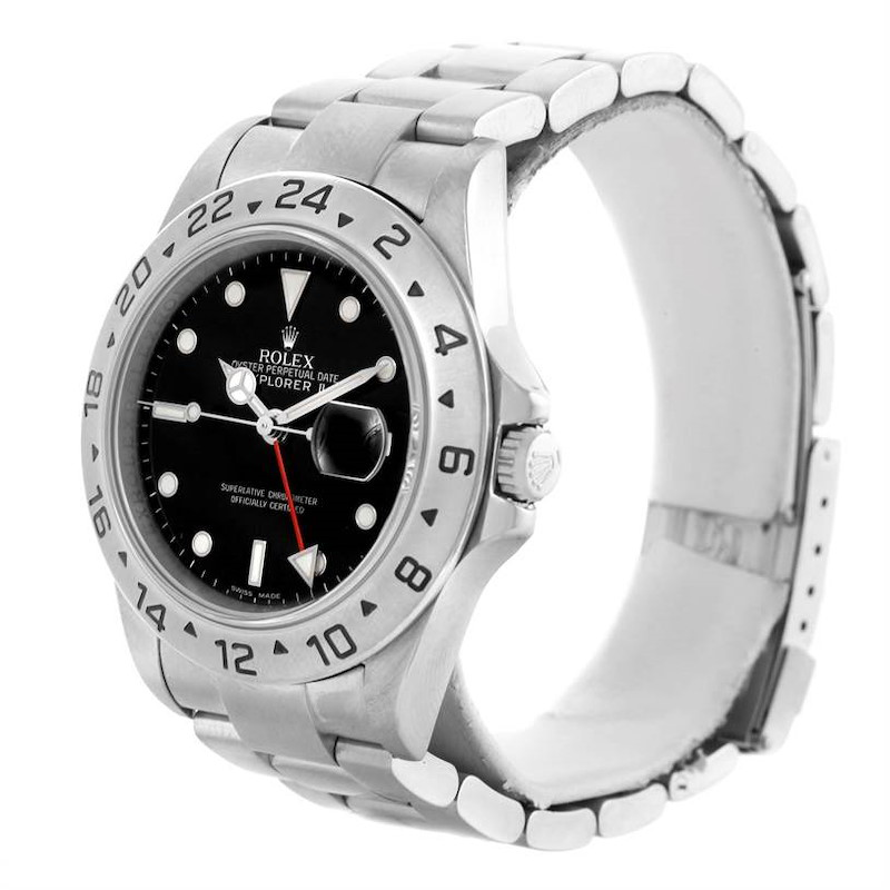 Rolex Explorer II Parachrom Hairspring Steel Black Dial Watch 16570 SwissWatchExpo