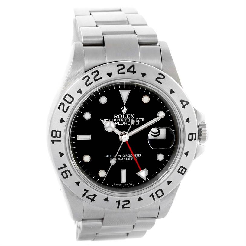 10305 Rolex Explorer II Black Dial Steel Mens Watch 16570 Year 2006 SwissWatchExpo