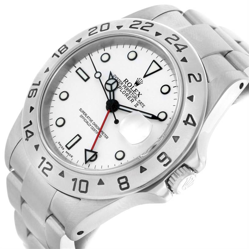 Rolex Explorer II White Dial Automatic Mens Watch 16570 Year 2001 SwissWatchExpo