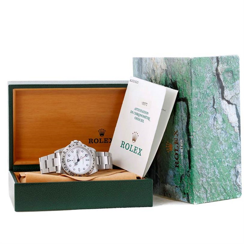 Rolex Explorer II White Dial Automatic Mens Watch 16570 Box Papers SwissWatchExpo