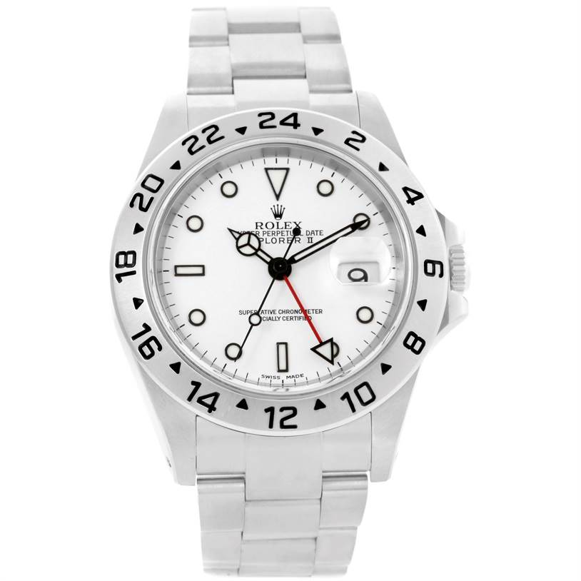 Rolex Explorer II White Dial Automatic Mens Watch 16570 Year 2002 SwissWatchExpo