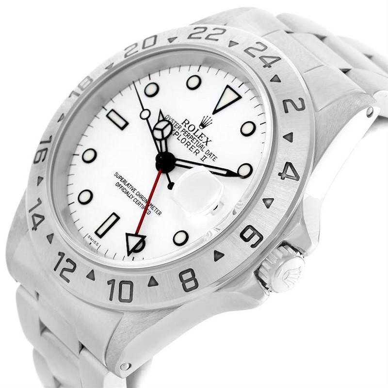 Rolex Explorer II White Dial Automatic Date Mens Watch 16570 SwissWatchExpo