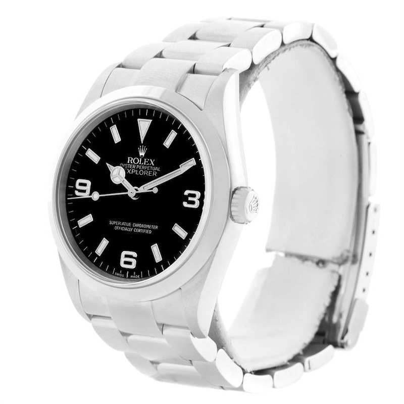Rolex Explorer I Black Dial Stainless Steel Mens Watch 114270 Box Papers SwissWatchExpo