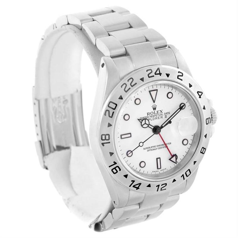 Rolex Explorer II White Dial Oyster Bracelet Mens Watch Steel 16570 SwissWatchExpo