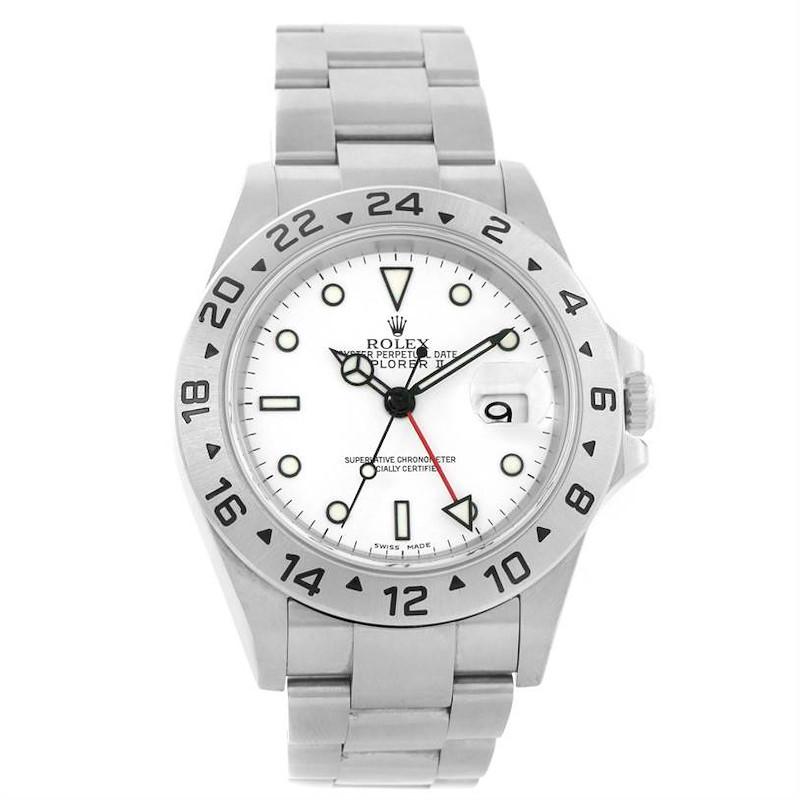 Rolex Explorer II White Dial Stainless Steel Mens Watch 16570 Year 2004 SwissWatchExpo