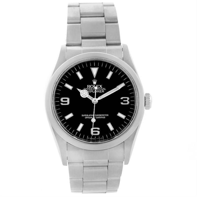 Rolex Explorer I Mens Stainless Steel Black Dial Watch 14270 SwissWatchExpo