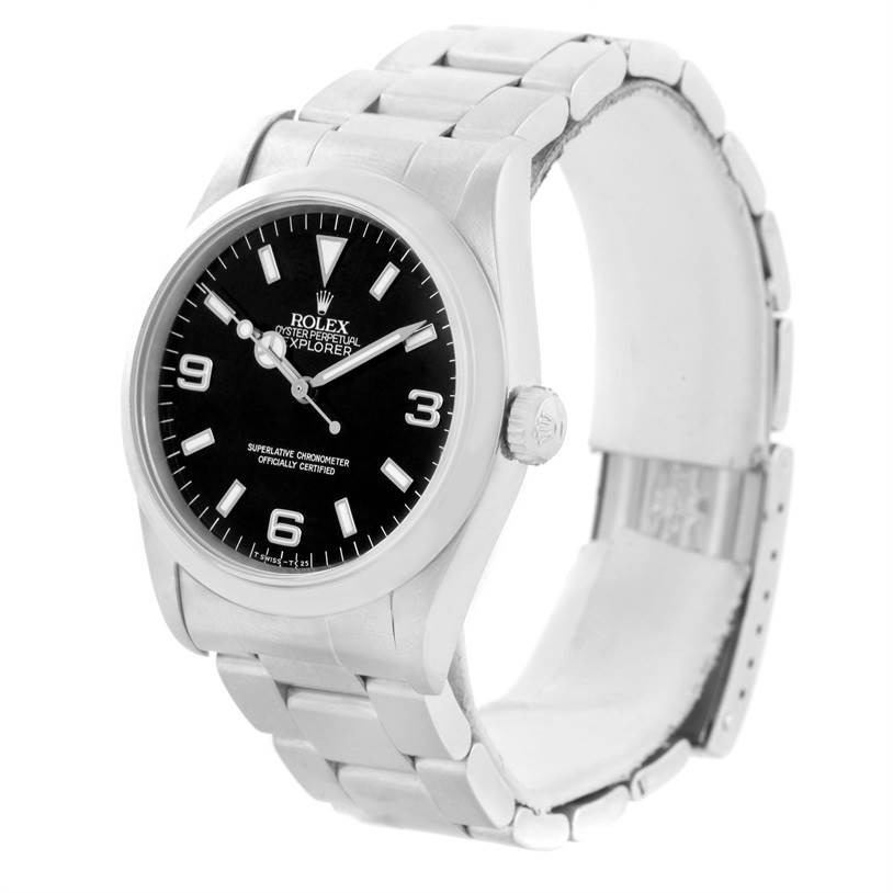 Rolex Explorer I Mens Steel Black Dial Oyster Bracelet Watch 14270 SwissWatchExpo