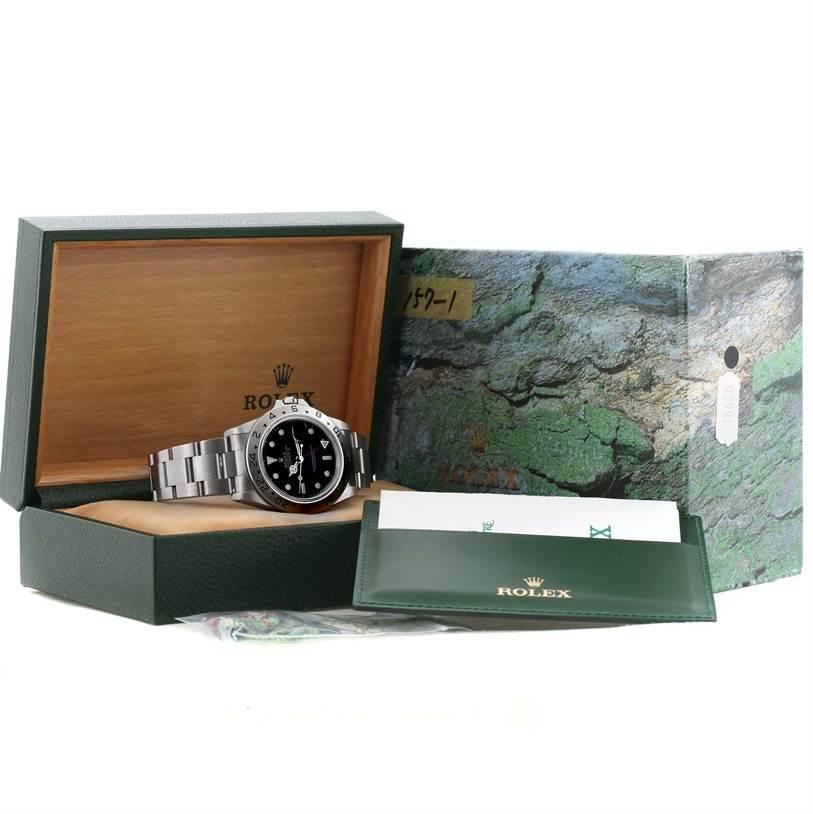 Rolex Explorer II Mens Steel Black Dial Watch 16570 Box Papers SwissWatchExpo