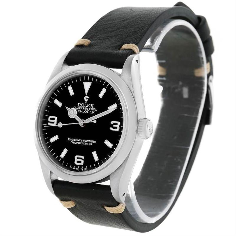 Rolex Explorer I Mens Steel Black Leather Strap Watch 14270 SwissWatchExpo