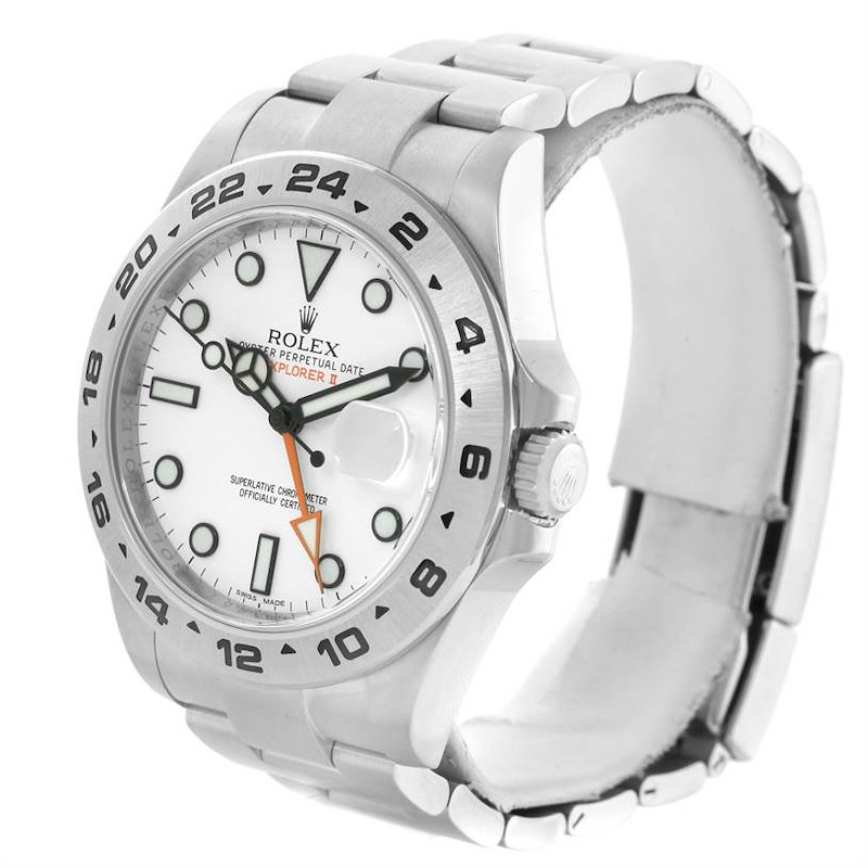 Rolex Explorer II Stainless Steel White Dial Mens Watch 216570WSO SwissWatchExpo