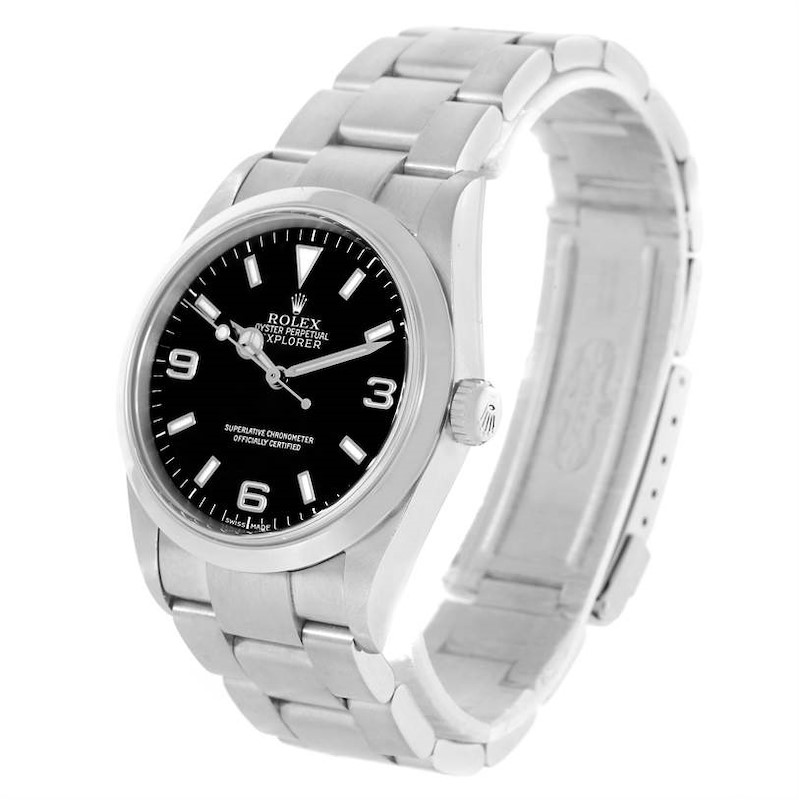 Rolex Explorer I Black Dial Stainless Steel Mens Watch 114270 Year 2002 SwissWatchExpo