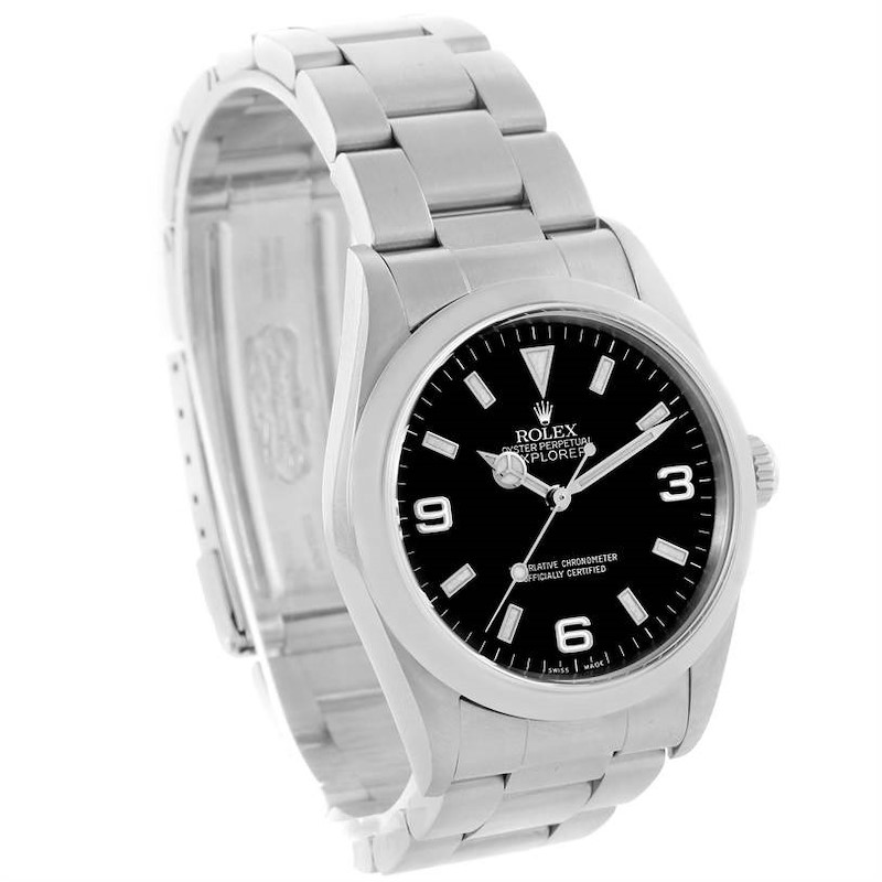 Rolex Explorer I Black Dial Stainless Steel Mens Watch 114270 Year 2001 SwissWatchExpo