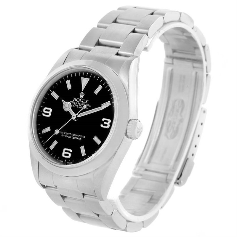 Rolex Explorer I Black Dial Stainless Steel Mens Watch 114270 Year 2001 SwissWatchExpo