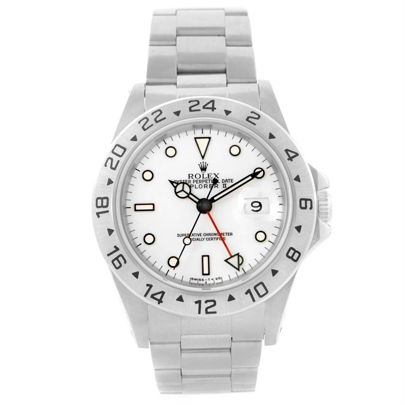 11803 Rolex Explorer II White Dial Automatic Steel Mens Watch 16570 SwissWatchExpo