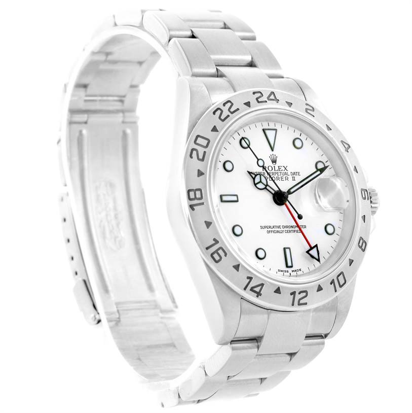 Rolex Explorer II White Dial Stainless Steel Mens Watch 16570 Year 2002 SwissWatchExpo