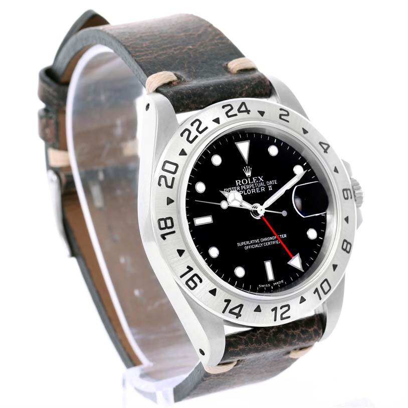 Rolex Explorer II Mens Steel Black Dial Leather Strap Watch 16570