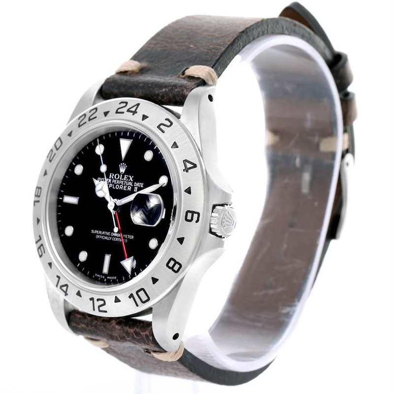 Rolex Explorer II Mens Steel Black Dial Leather Strap Watch 16570 SwissWatchExpo