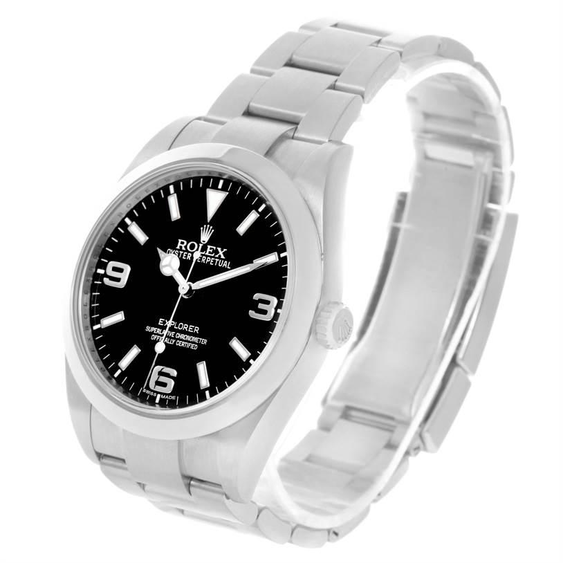 Rolex Explorer I Stainless Steel Black Dial Mens Watch 214270 SwissWatchExpo