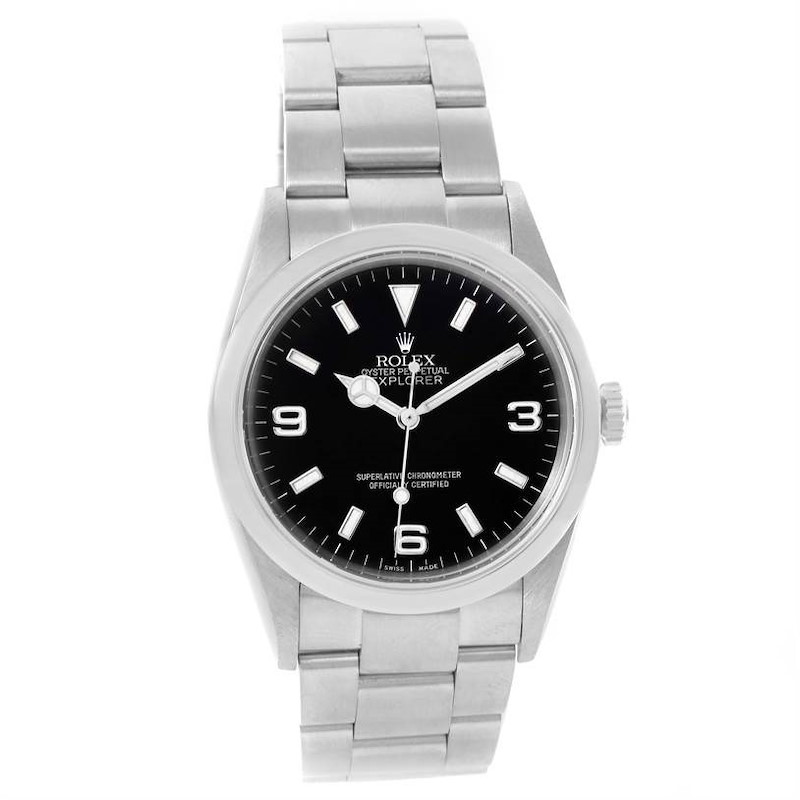 Rolex Explorer I Black Dial Stainless Steel Automatic Mens Watch 114270 SwissWatchExpo
