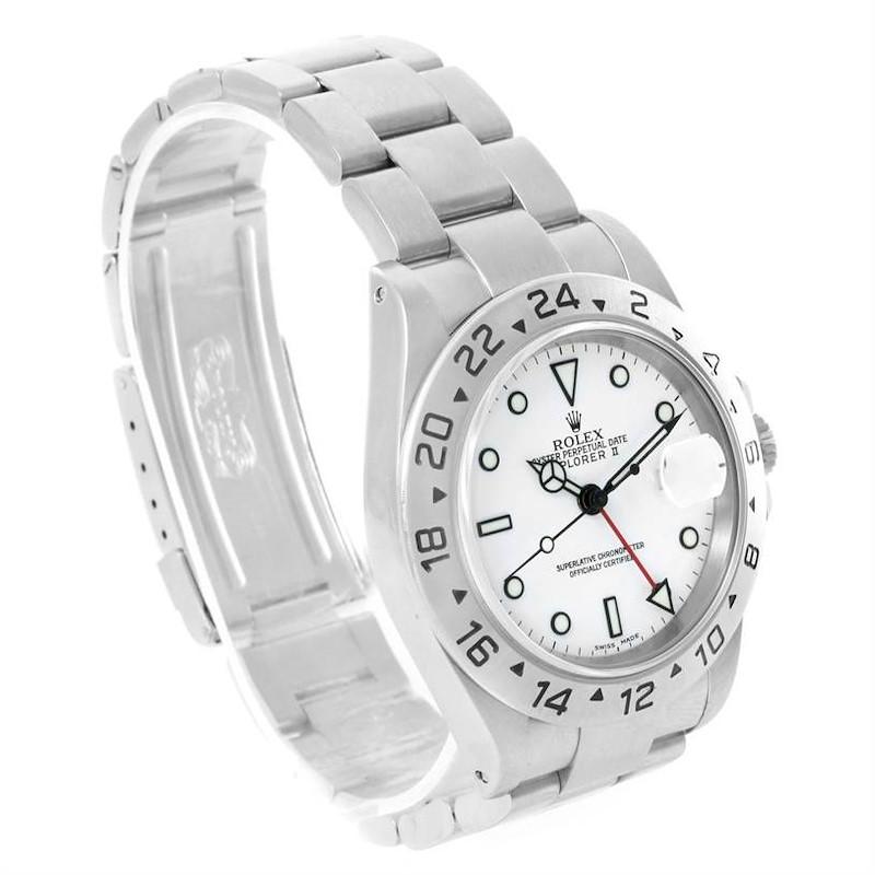 Rolex Explorer II White Dial Steel Mens Automatic Watch 16570 SwissWatchExpo