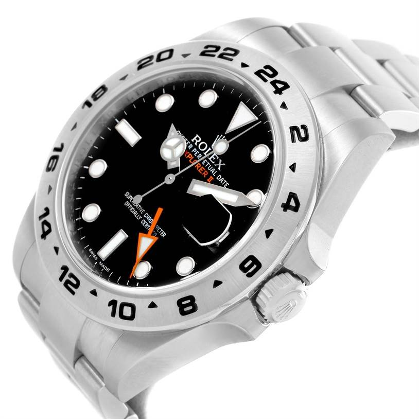 Rolex Explorer II Automatic Black Dial Watch 216570 Box Papers SwissWatchExpo