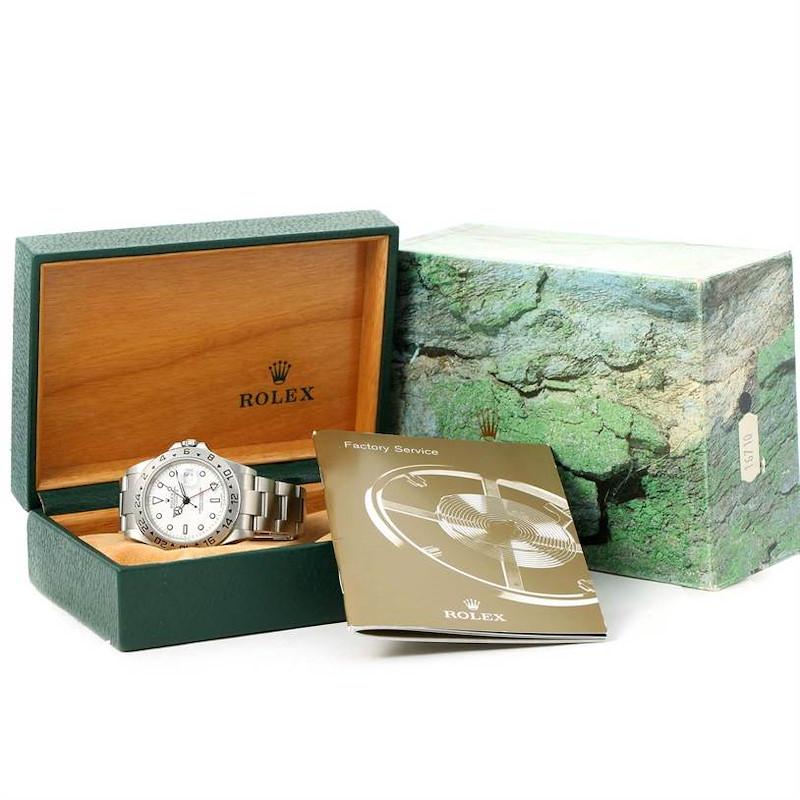 Rolex Explorer II White Dial Stainless Steel Date Mens Watch 16570 SwissWatchExpo