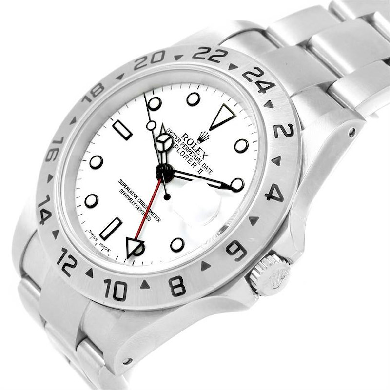Rolex Explorer II White Dial Stainless Steel Date Mens Watch 16570 SwissWatchExpo