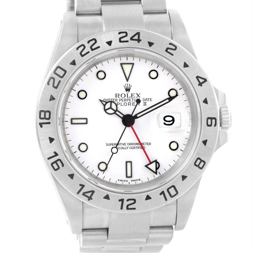 12362 Rolex Explorer II White Dial Stainless Steel Date Mens Watch 16570 SwissWatchExpo
