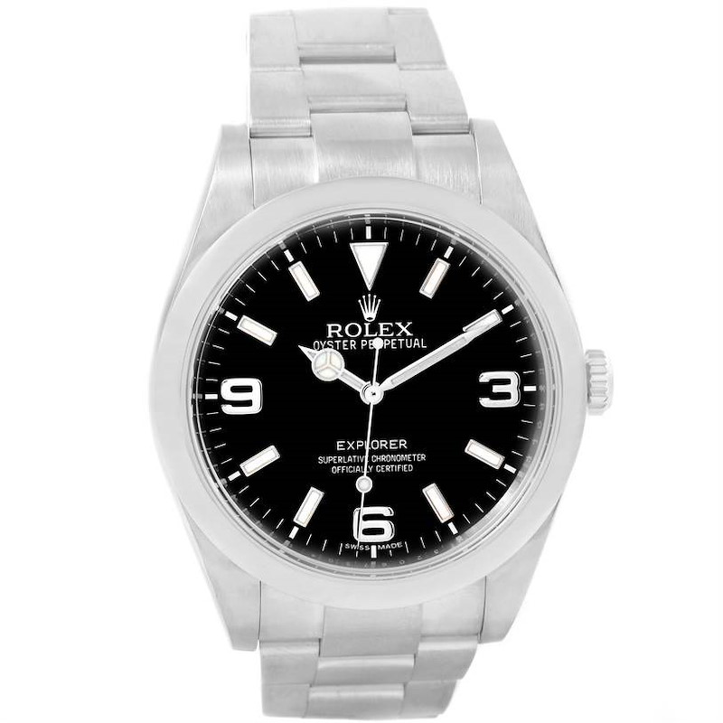 Rolex Explorer I Stainless Steel Black Dial Mens Watch 214270 SwissWatchExpo