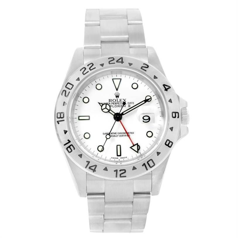 Rolex Explorer II White Dial Stainless Steel Automatic Watch 16570 SwissWatchExpo