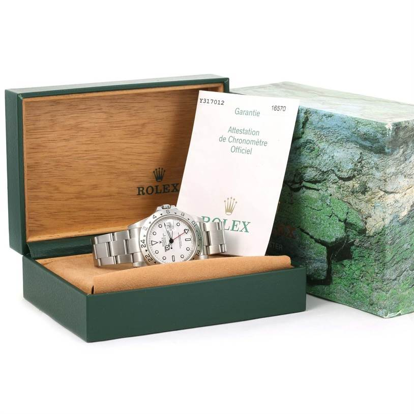 Rolex Explorer II White Dial Stainless Steel Watch 16570 Box Papers SwissWatchExpo
